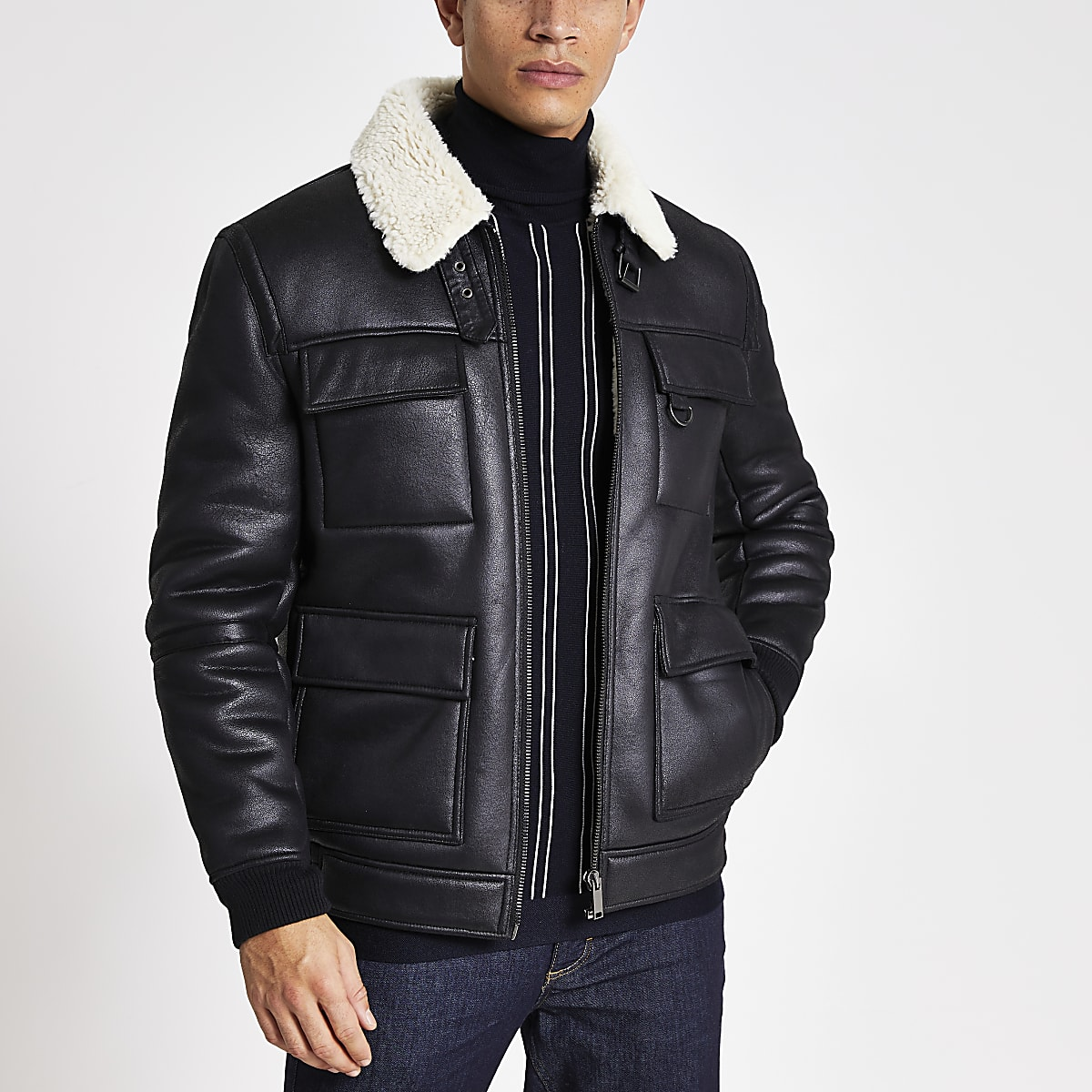 Black shearling flight jacket