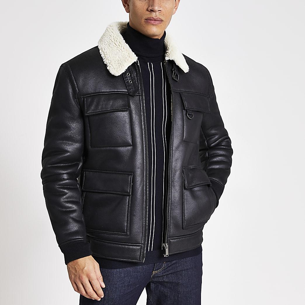 Black shearling flight jacket