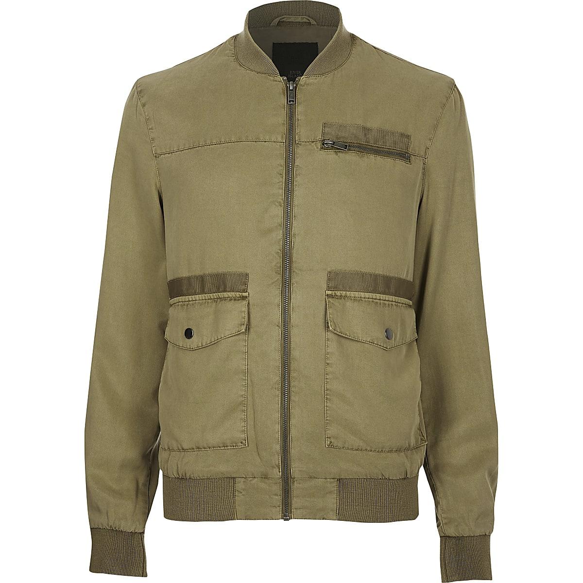 79de20803 Khaki utility zip front bomber jacket