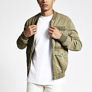 Khaki utility zip front bomber jacket