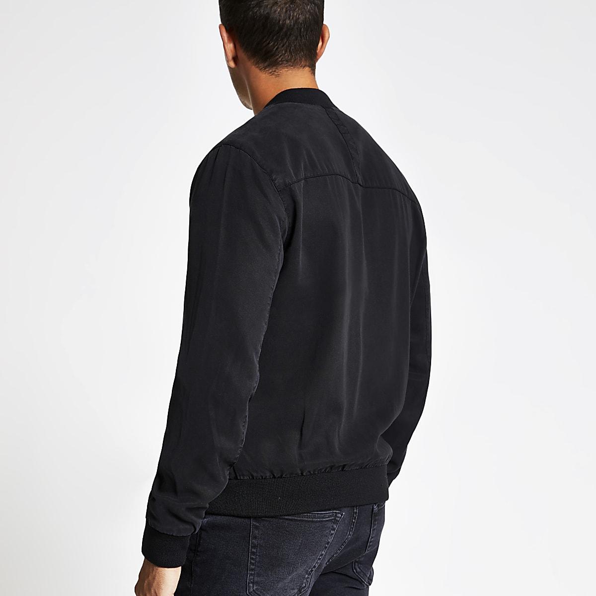 eee26bdde Black utility zip front bomber jacket