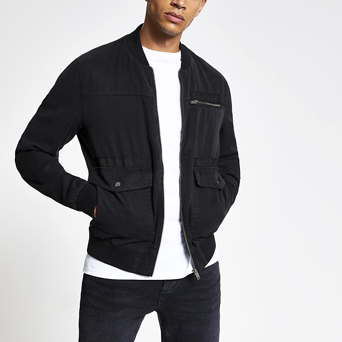 Black utility zip front bomber jacket