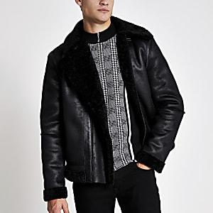 Black faux suede shearling aviator jacket