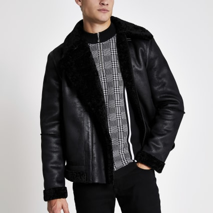 Black faux suede shearling aviator jacket