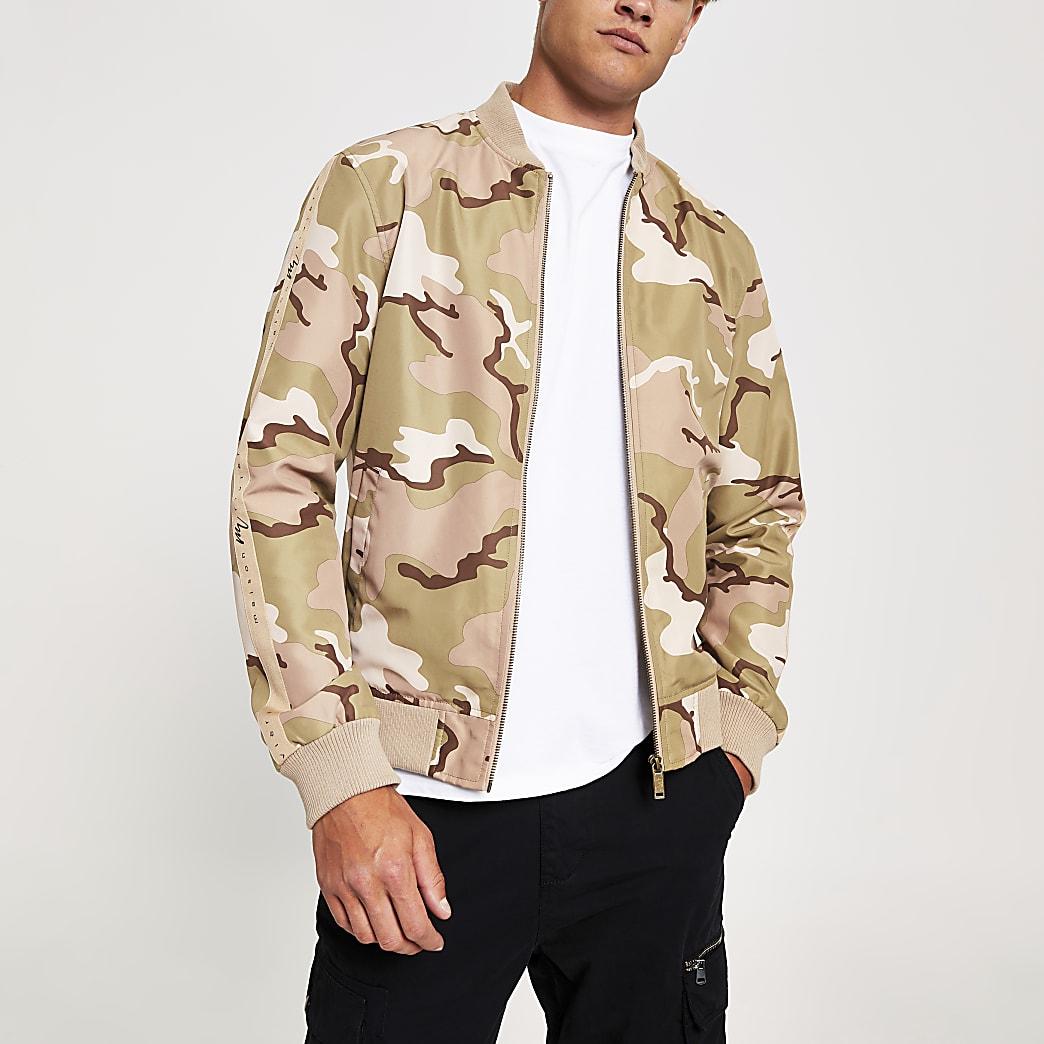 Maison Riviera - Bruin bomberjack met camouflageprint