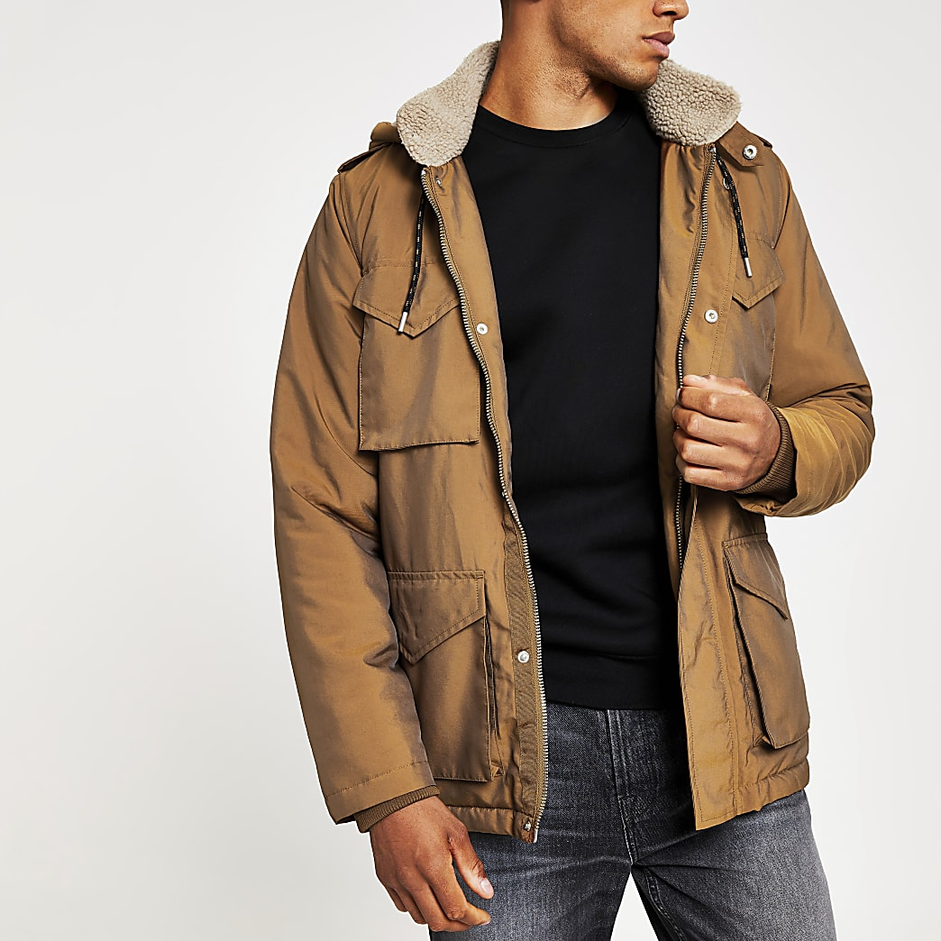 Brown borg lined hooded utility parka