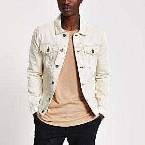 Ecru contrast stitch denim jacket