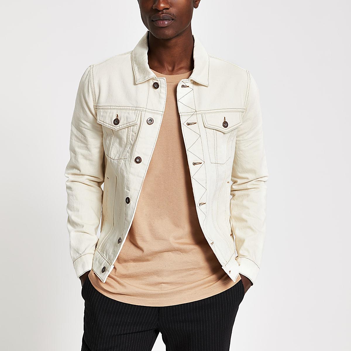 Veste écru coupe classique avec surpiqûres contrastantes