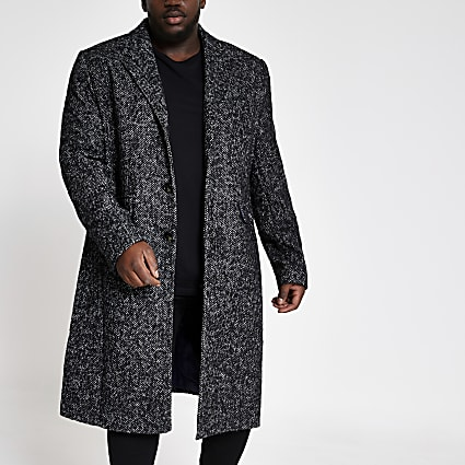 Big and Tall grey herringbone wool overcoat