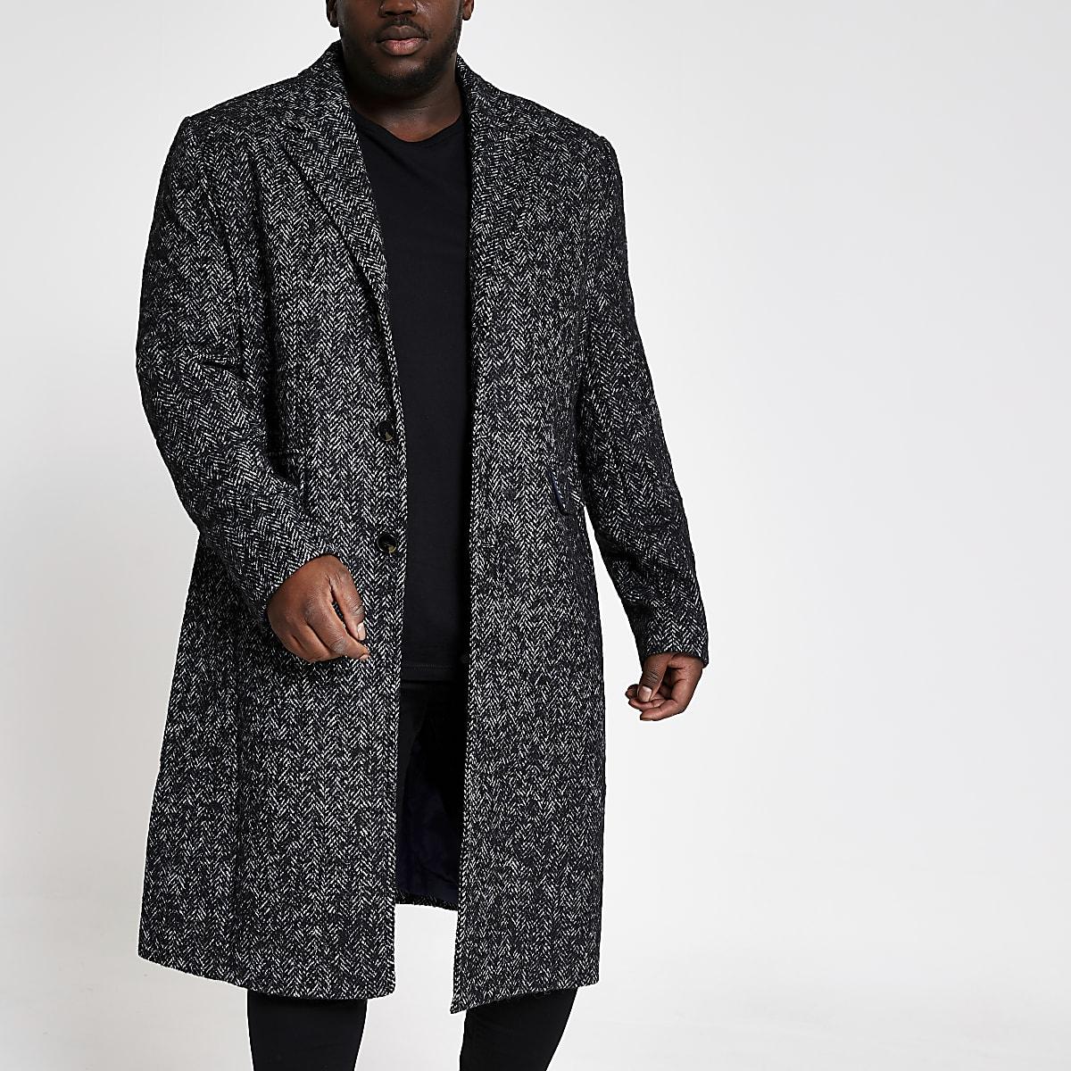 Big and Tall grey herringbone wool overcoat