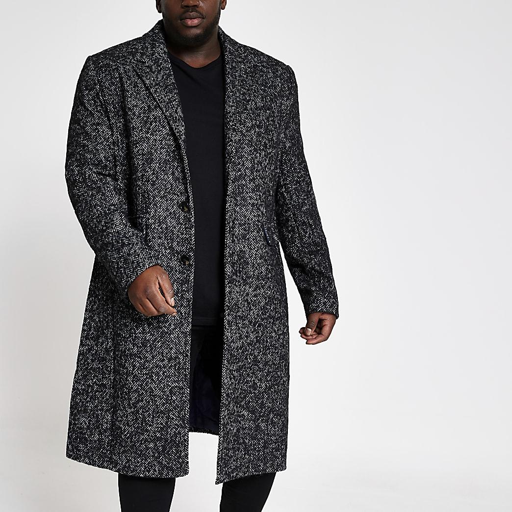 Big and Tall- Pardessus en laine gris motif chevrons