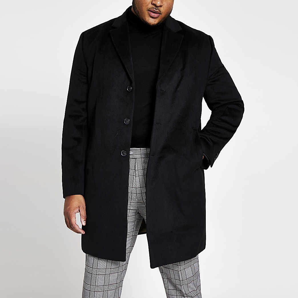 Big and Tall black single breasted overcoat