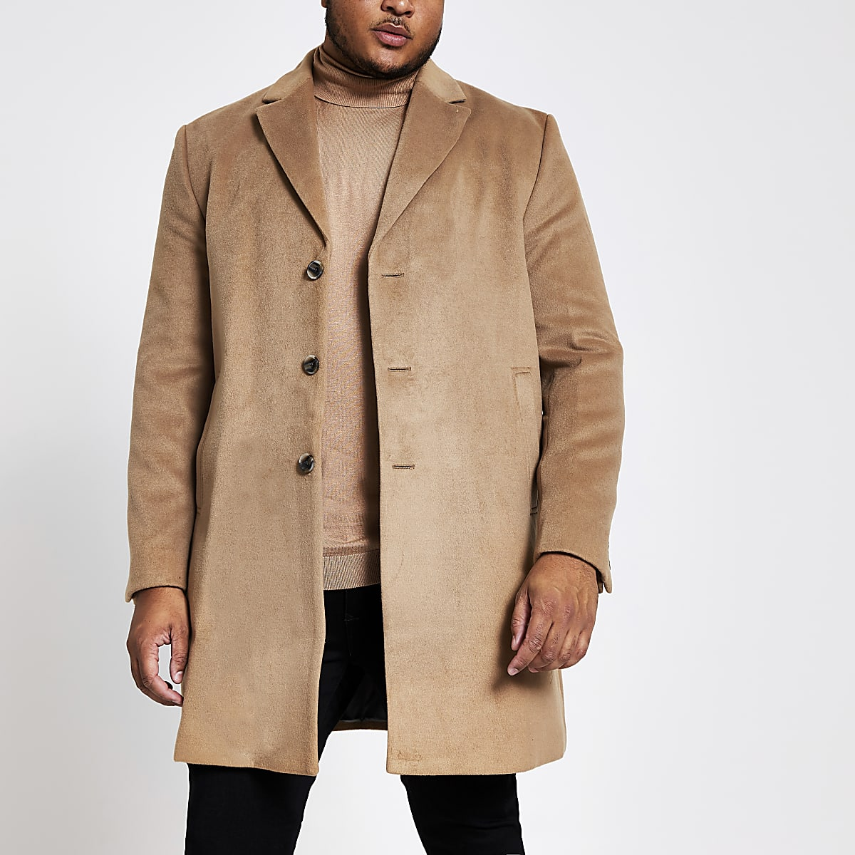 Big and Tall brown single breasted overcoat