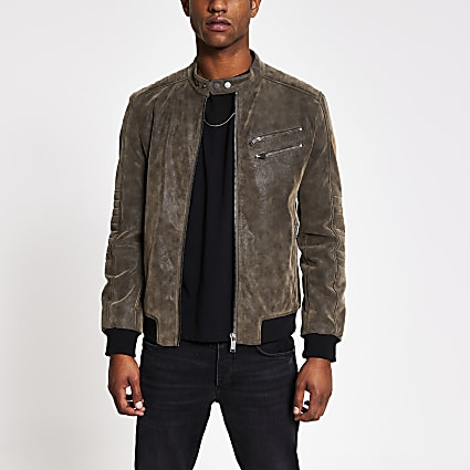Brown faux suede racer jacket