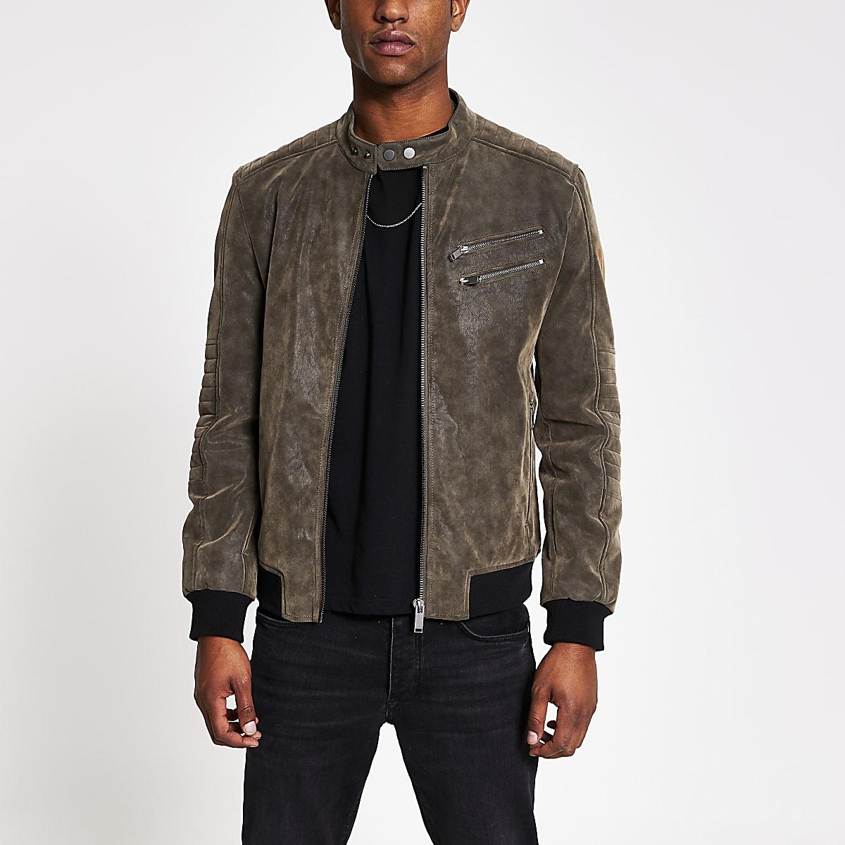 Dark brown faux suede racer jacket