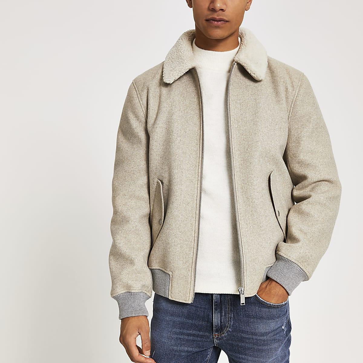 Oatmeal grey melange borg collar jacket