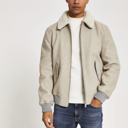 Oatmeal grey melange borg collar jacket