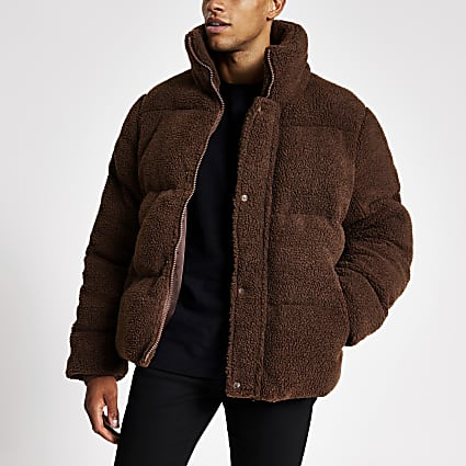 Brown teddy borg puffer coat