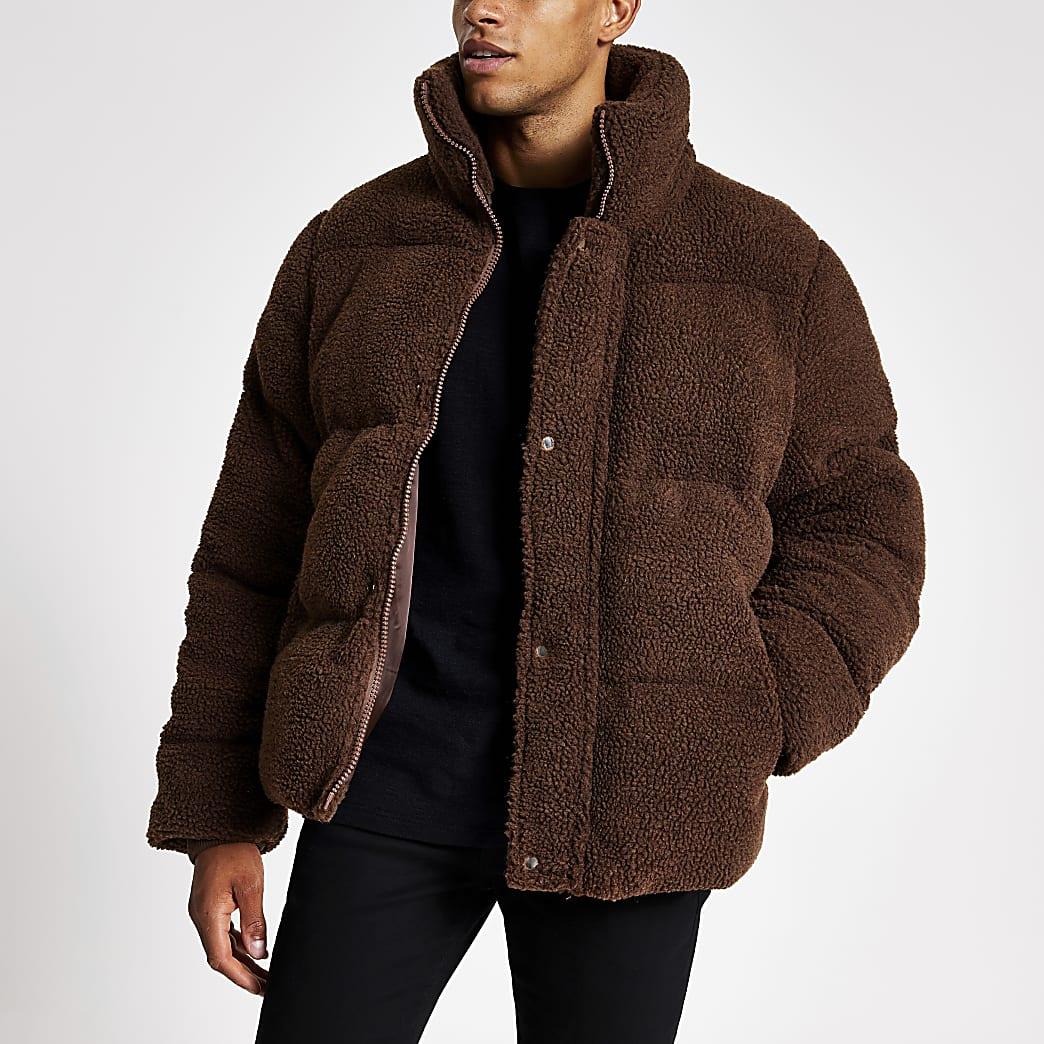 Bruine teddy borg gewatteerde jas