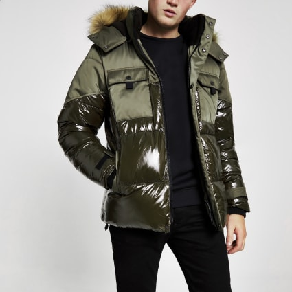Khaki high shine faux fur hooded puffer coat