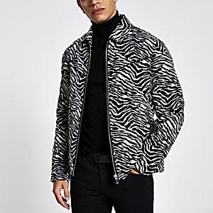 Schwarze Westernjacke mit Zebra-Print und durchgehendem Reißverschluss