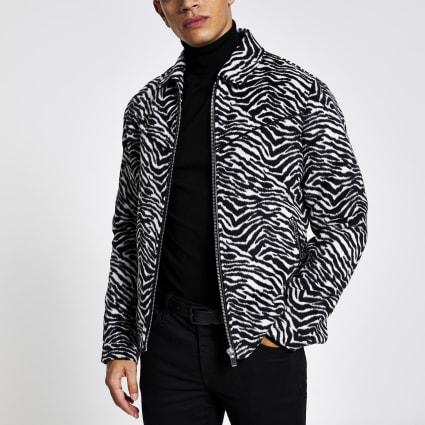 Black zebra print zip through western jacket