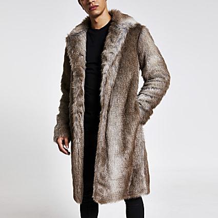 Brown faux fur overcoat