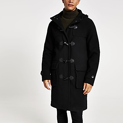 Black longline duffle coat