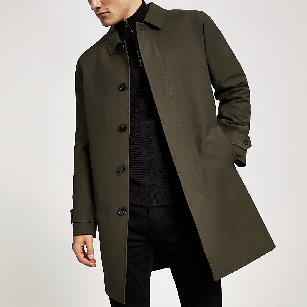 Khaki concealed button water resistant mac
