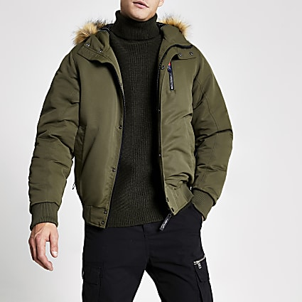 Khaki Prolific faux fur hooded padded jacket