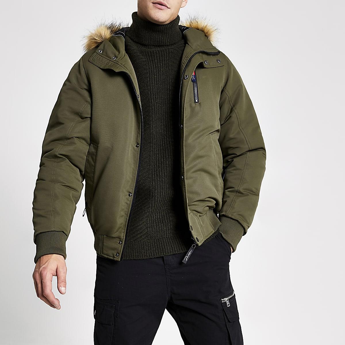 Khaki Prolific faux fur hooded padded jacket