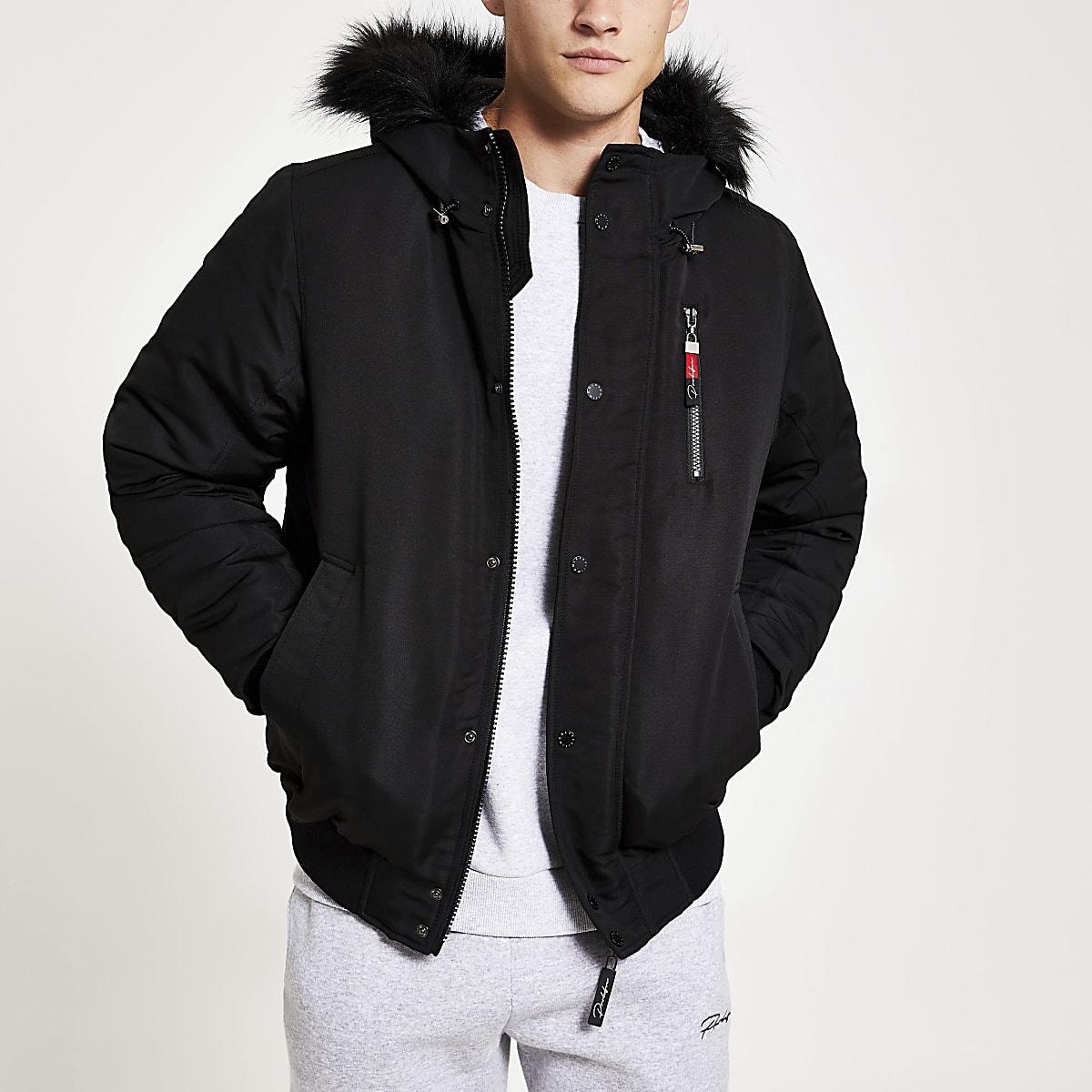 Prolific - Zwarte gewatteerde jas met capuchon met rand van imitatiebont