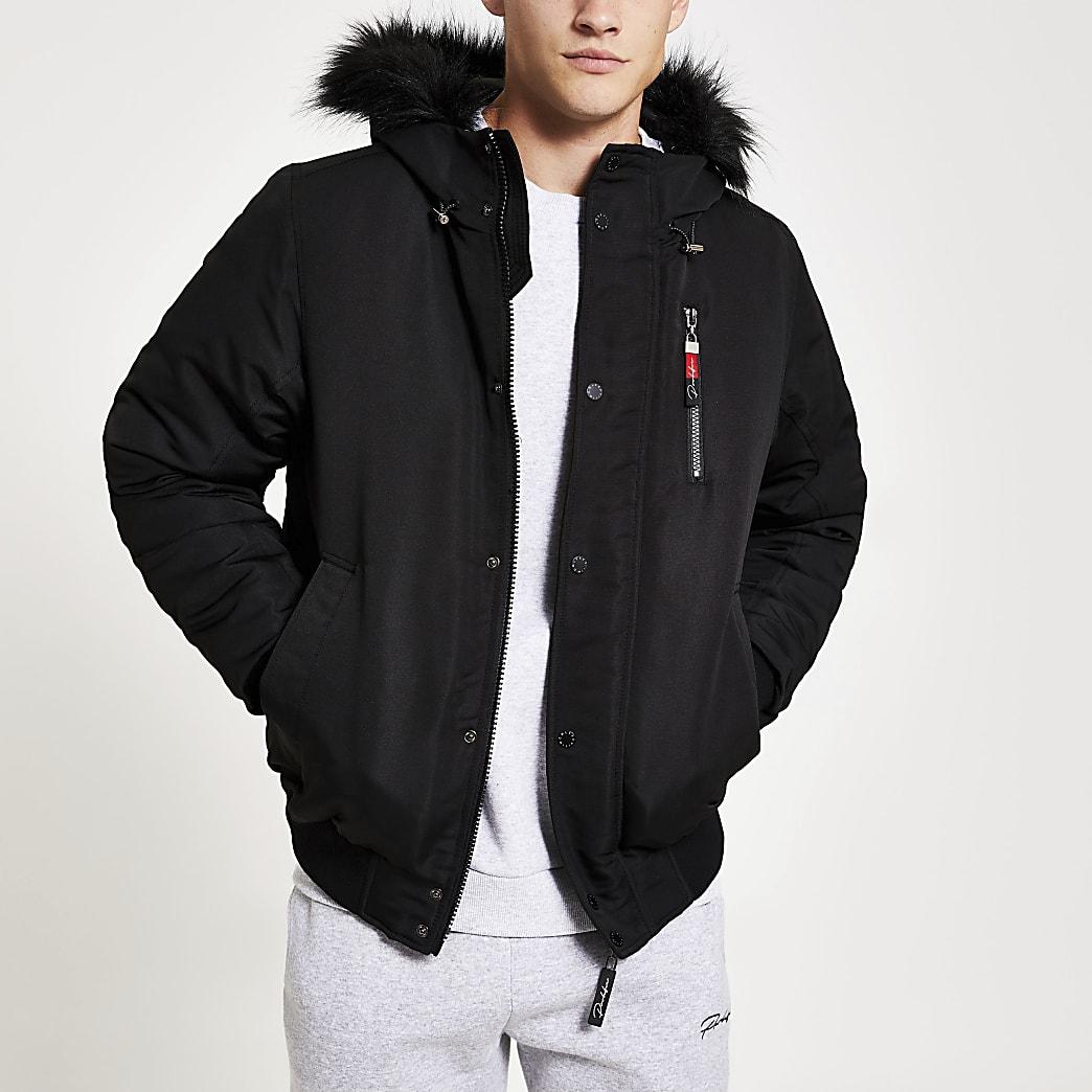Prolific black faux fur hooded padded jacket