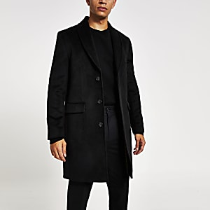 Black shawl collar overcoat