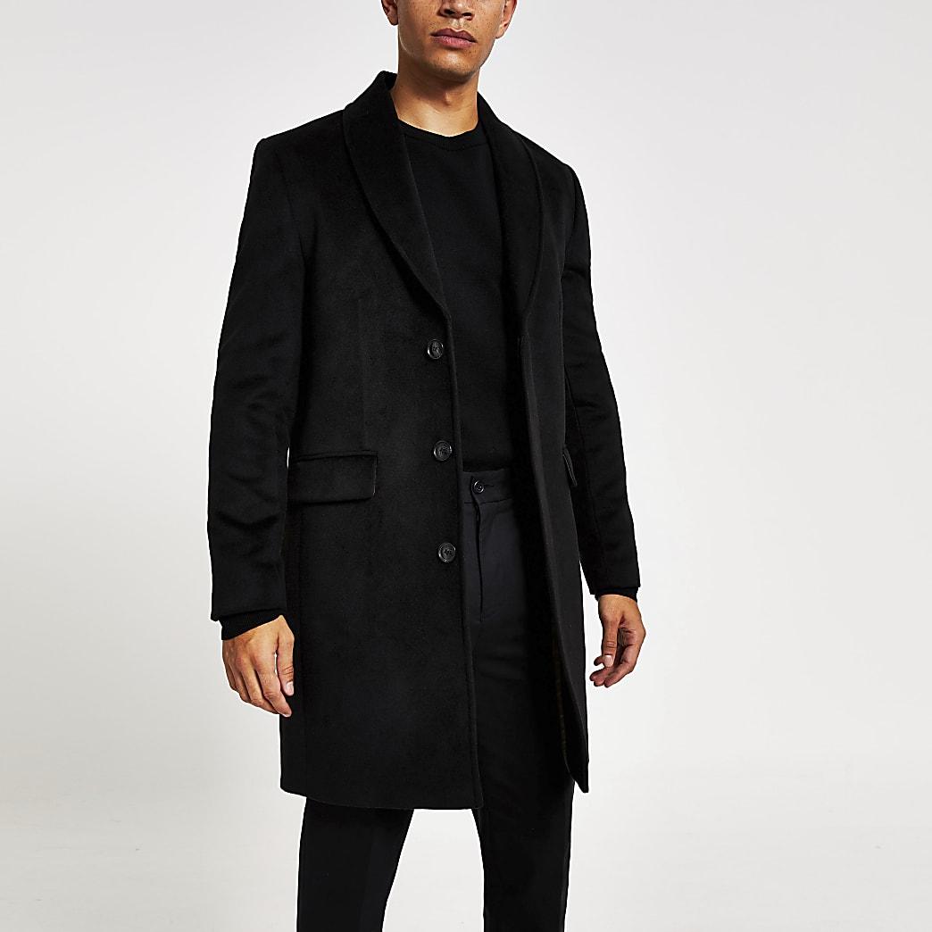 Klassischer Mantel mit Schalkragen in Schwarz