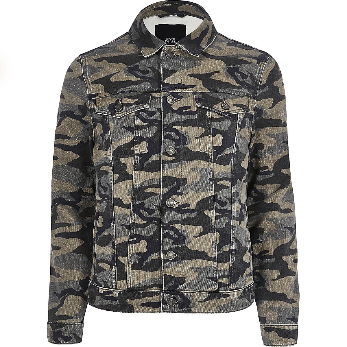 81465450ac0d9 Khaki camo denim jacket - Jackets - Coats & Jackets - men