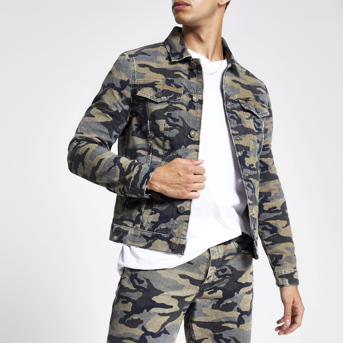 Khaki camo denim jacket
