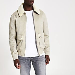 Grey faux suede borg collar jacket