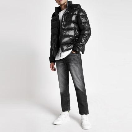 Black Prolific tape hooded puffer jacket