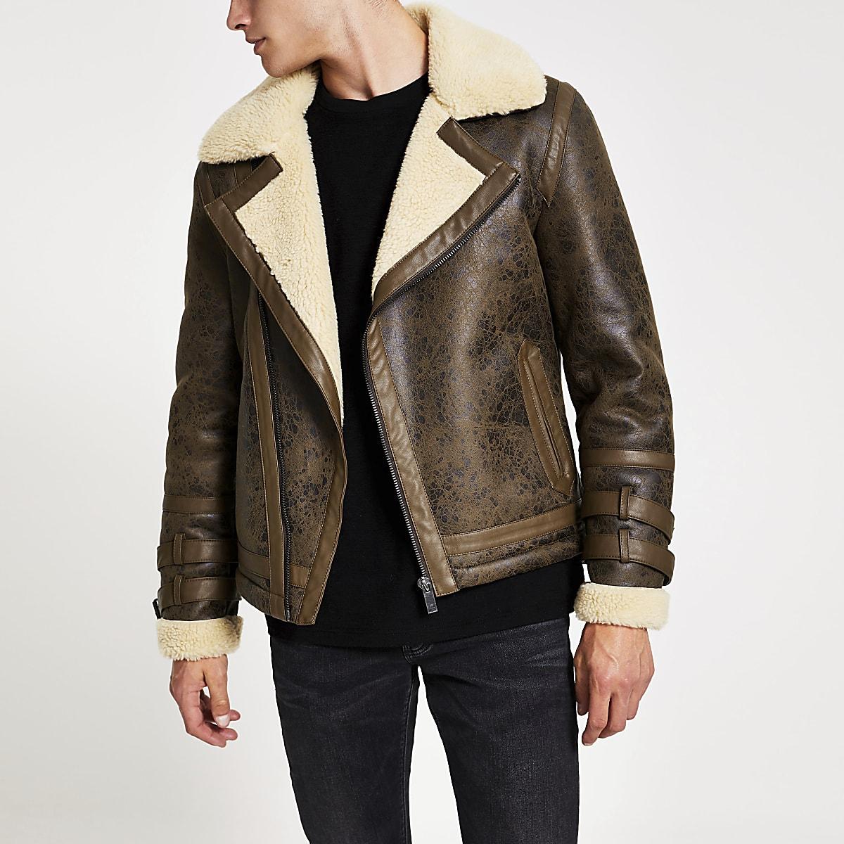 Brown textured Shearling biker jacket