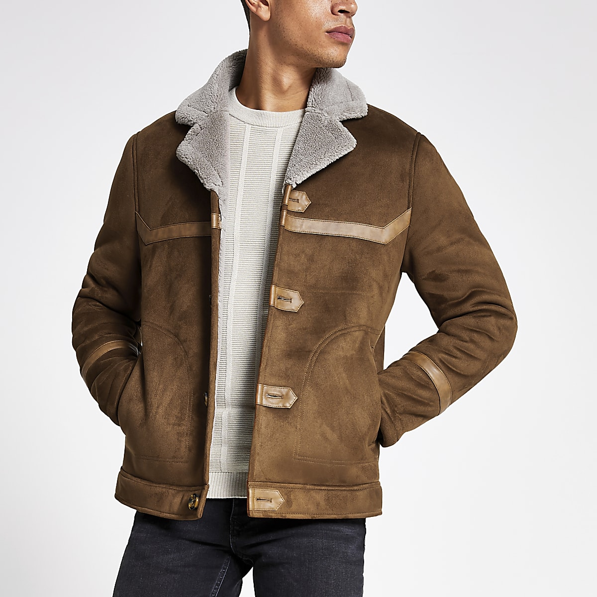 Tan faux suede shearling jacket