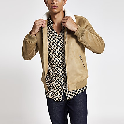 Camel faux suede borg collar jacket