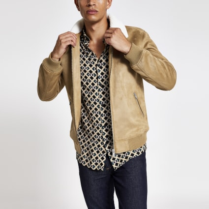 Beige faux suede borg collar jacket