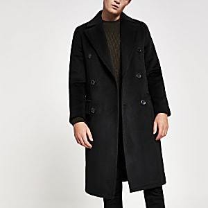 Manteau noir à fermeture croisée