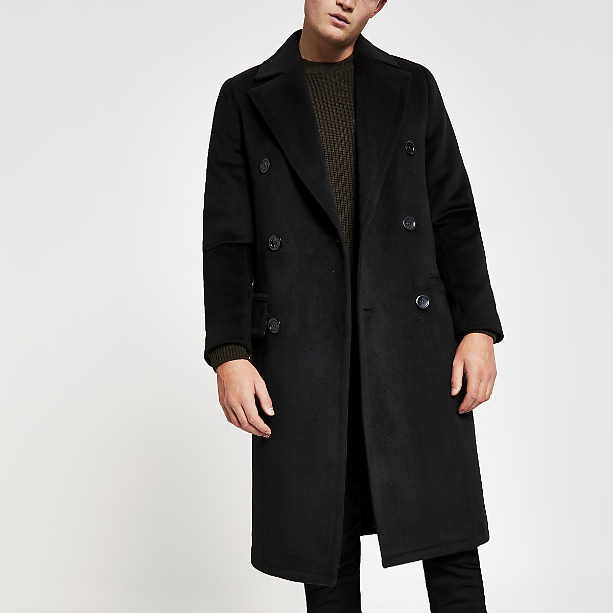 Black double breasted overcoat