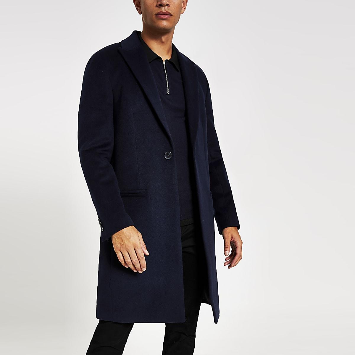 Dark navy single breasted overcoat