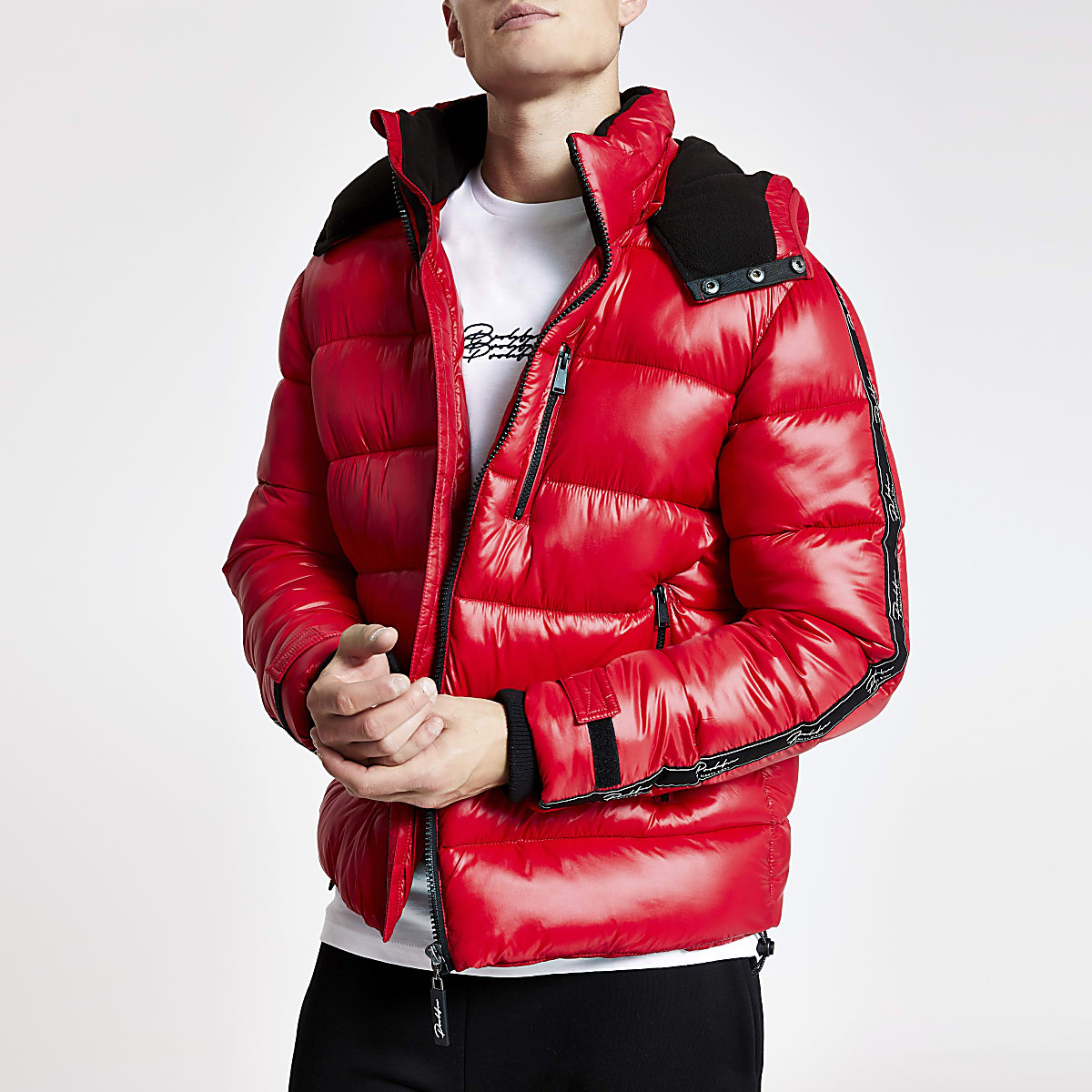 Red Prolific tape hooded puffer jacket