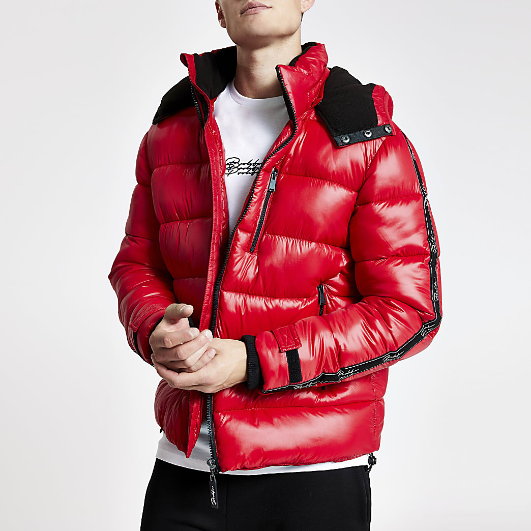 Prolific red tape hooded puffer jacket