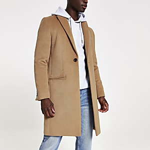 Camel single breasted overcoat