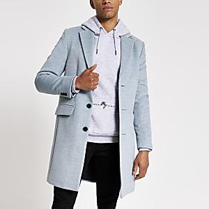 Blauwe gemêleerde wollen overjas met enkele knopenrij
